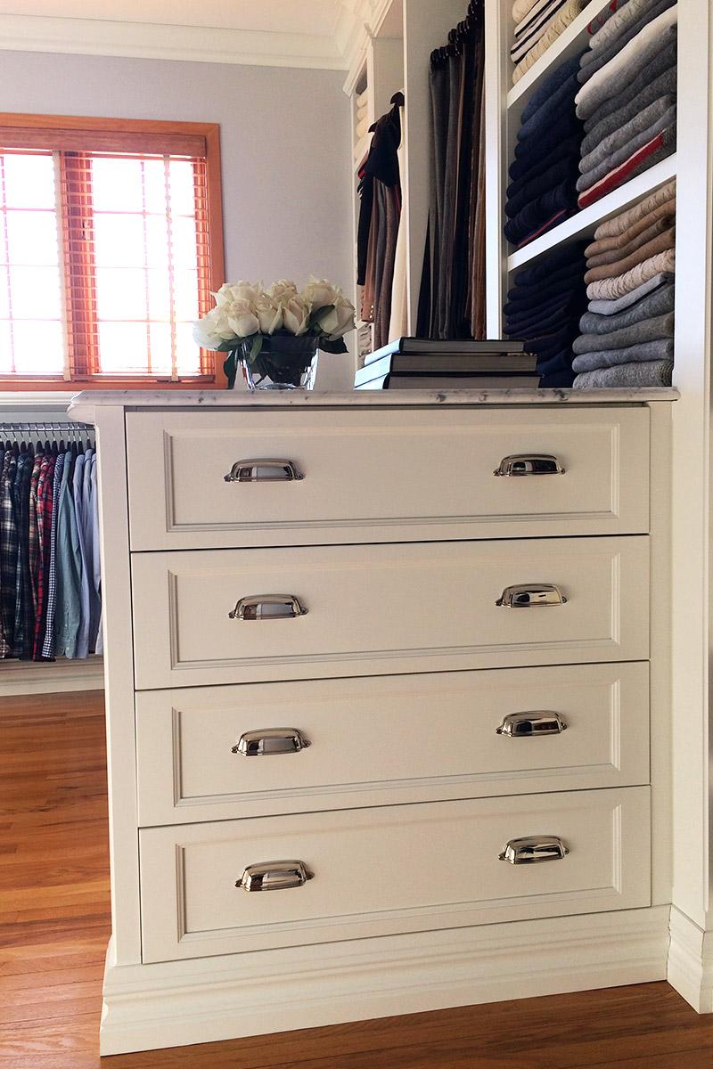 Tiroirs, chrome, blanc, plancher de bois,marbre